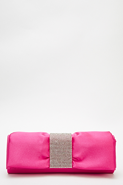 Ruched Encrusted Panel Clutch