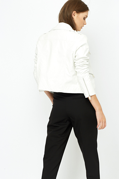 White Zip Detail Biker Jacket