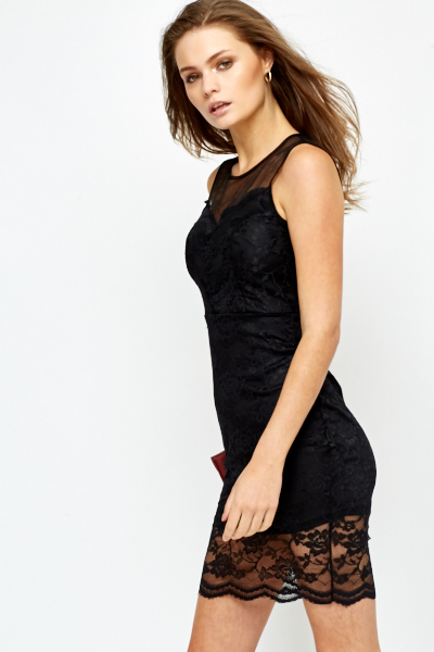 Bodycon Mesh Yoke Lace Dress