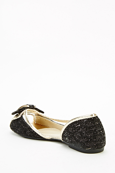 Glitter Trim Open Toe Flats