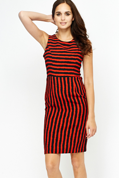 High Waist Red Striped Dress Just 5