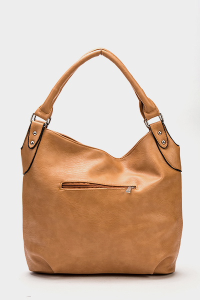 Camel Faux Leather Handbag