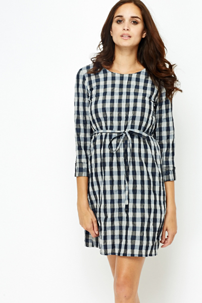 Check Belted Shirt Dress