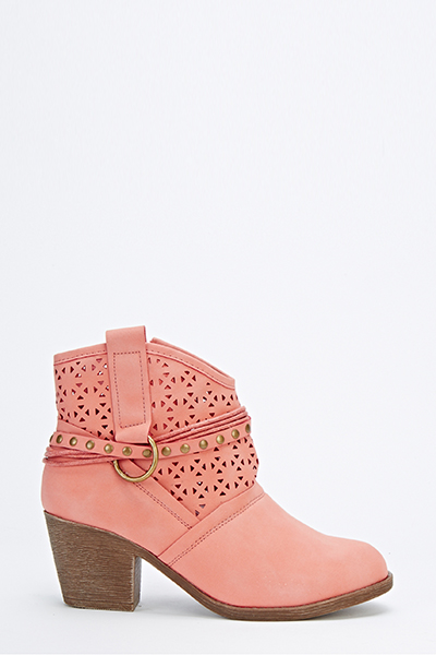 Cut Out Studded Strap Boots