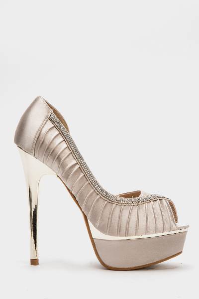 Ruched Diamante Trim Heels