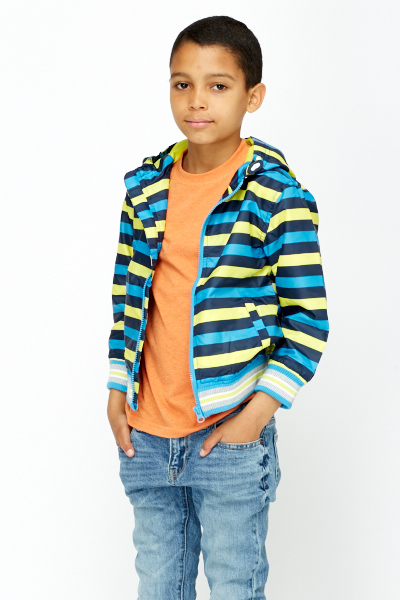 Boys Stripped Hooded Jacket