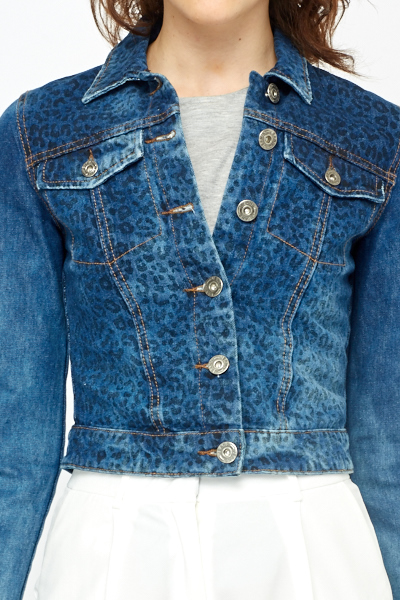 Faded Leopard Print Denim Jacket