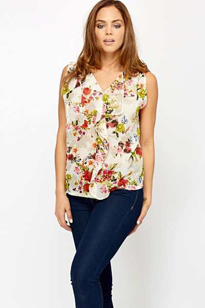 fd7c0dbf0e554 Floral Ruffled Front Lace Back Blouse - White Flowers - Just £5