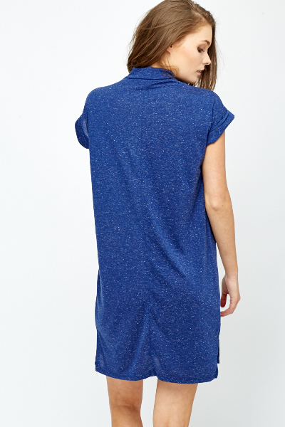 High Neck Navy Shift Dress