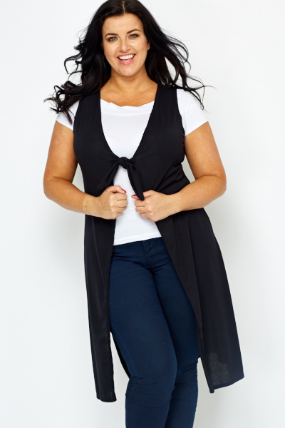 Knot Front Sleeveless Cardigan