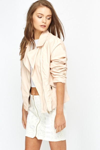 Peach PU Biker Jacket