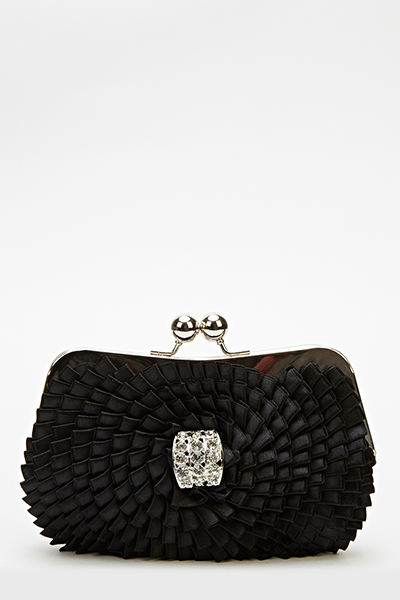 Pleated Encrusted Clip Lock Clutch