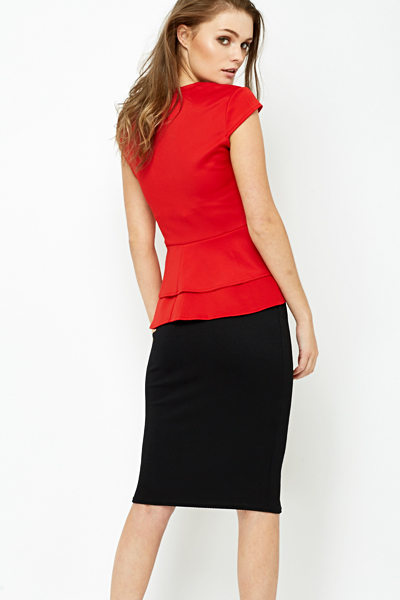 52f5f42cd2370 Red Scuba Peplum Top - Just £5
