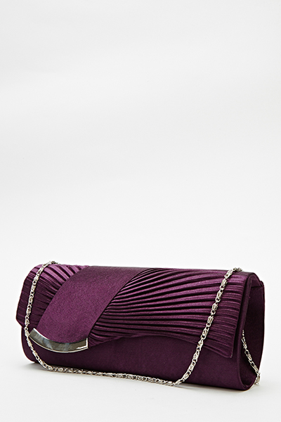 Ruched Curved Clutch