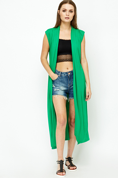 Long Line Green Cardigan - Just £5