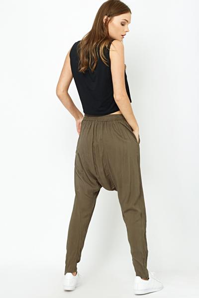 Luxury Womenu0026#39;s Jeans Pants Drop Crotch Skinny Harem Slim TWIST New E1083 | EBay