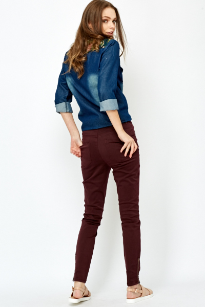 Maroon Straight Fit Jeans