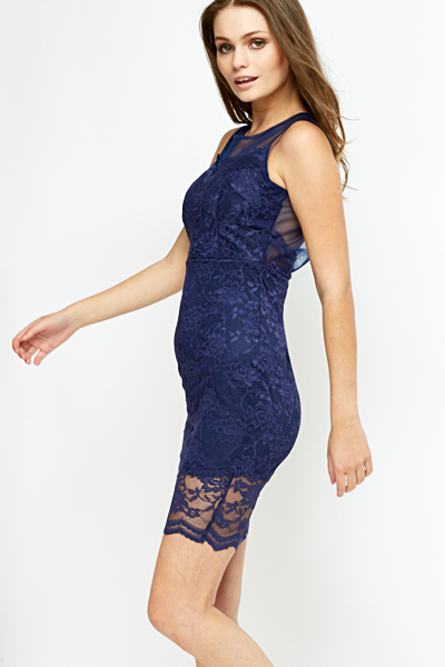 Navy Overlay Bodycon Dress