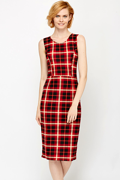 Red Checked Midi Dress