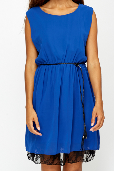 Royal Blue Lace Trim Skater Dress
