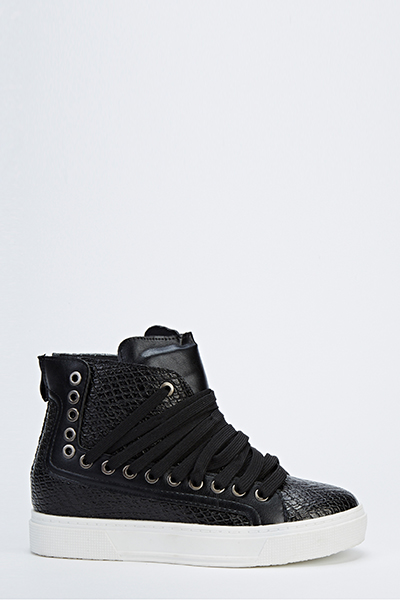 Textured High Top Trainers