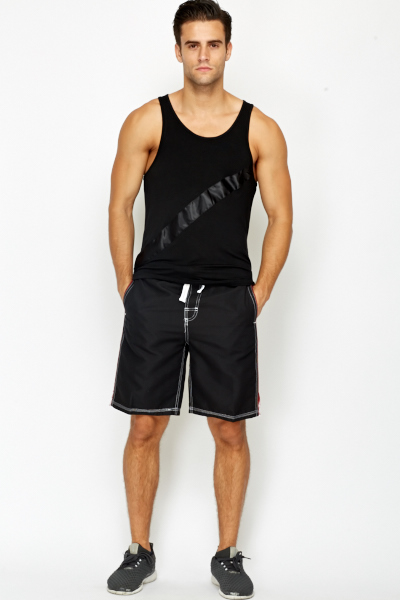 Black Floral Panel Swim Shorts