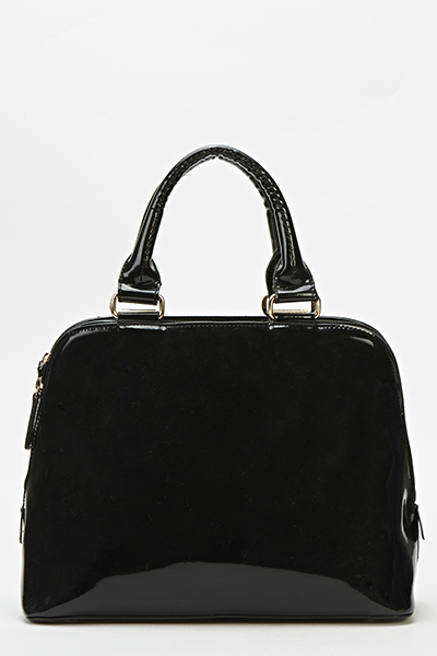 Black Patent Bowler Bag