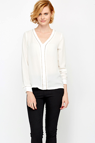 Diamante Trim Blouse