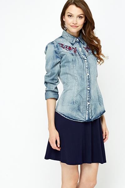 b631ed469a Embroidered Button Up Denim Shirt - Just £5