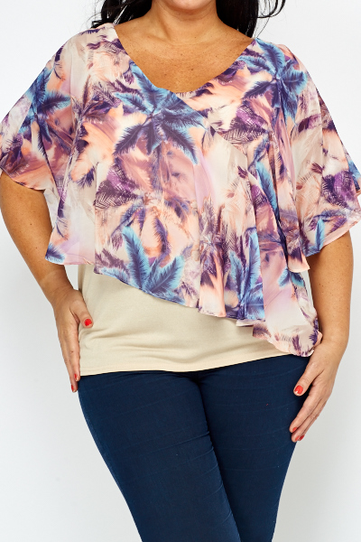 Multi Palm Tree Print Top