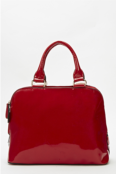 Patent Red Bowler Bag