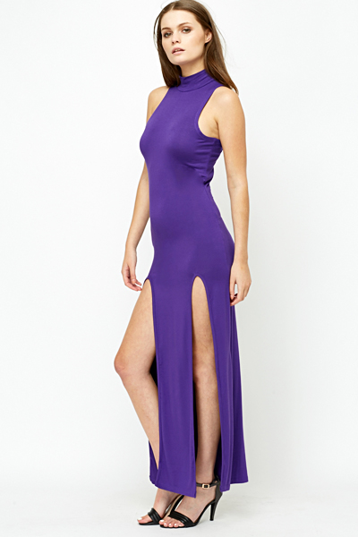 Purple High Neck Slit Front Dress