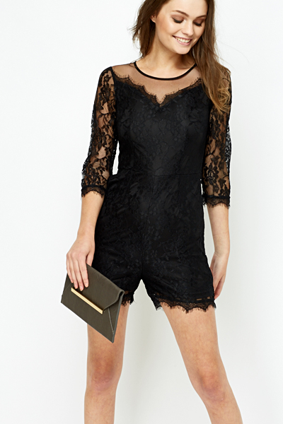 Black Mesh Yoke Lace Playsuit