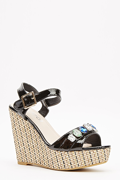 Contrast Gem Sandal Wedges