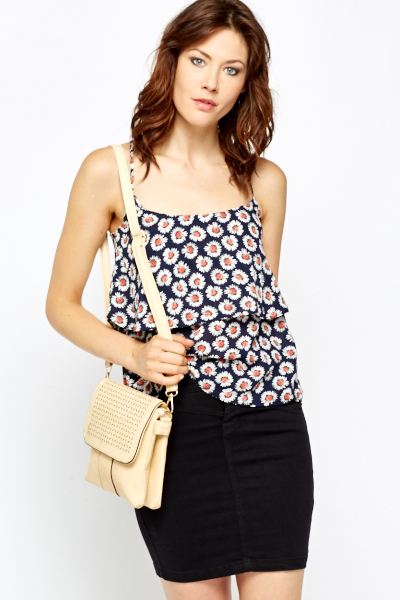 Daisy Print Layered Swing Top