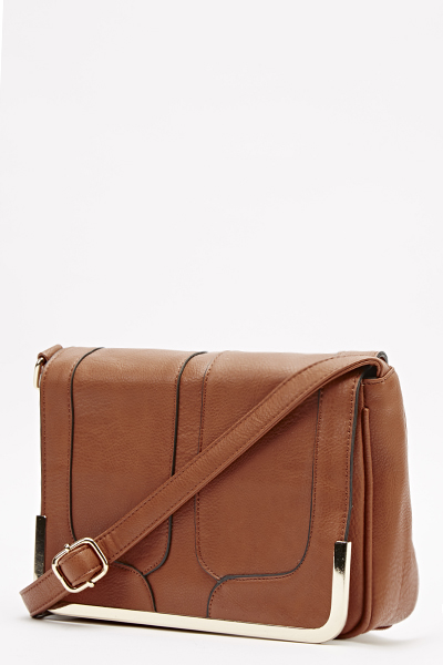 Faux Leather Gold Trim Crossbody Bag