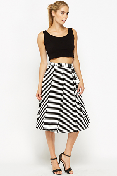Striped Swing Midi Skirt - Just £5