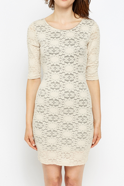 Beige Lace Overlay Bodycon Dress