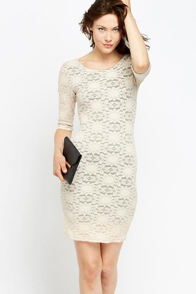 Centers beige lace bodycon dress end plus size
