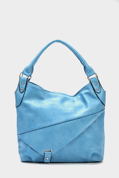 Blue Faux Leather Handbag