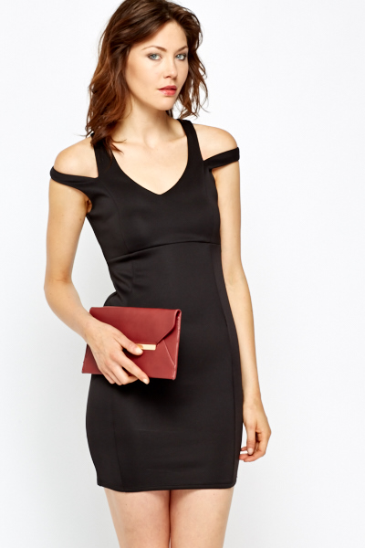 Cold Shoulder Scuba Bodycon Dress