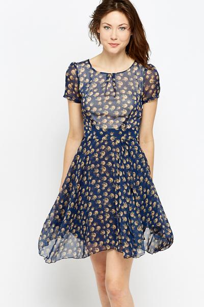 Frill Blue Button Print Skater Dress - Just £5
