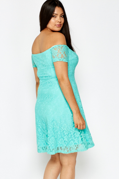 Off Shoulder Green Lace Dress