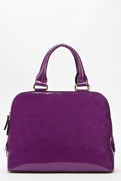 Purple Patent Bowler Bag