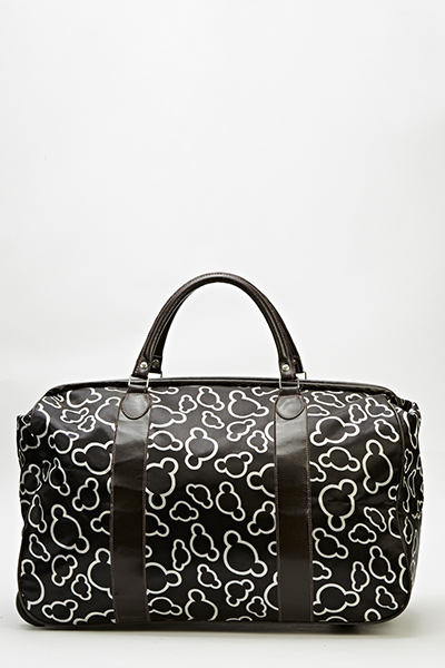Black Printed Travel Bag