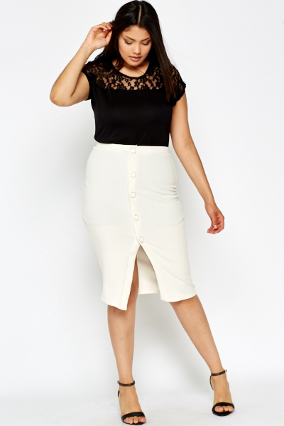 Button Up White Midi Skirt - Just £5