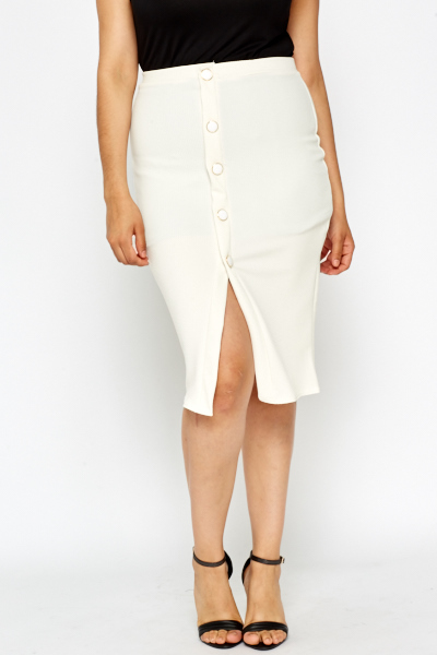 Button Up White Midi Skirt