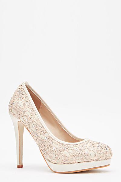 Diamante Embroidered Pump Heels
