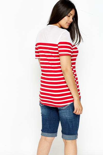 Mesh Red Striped Top