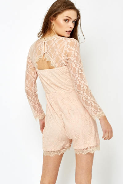 Pink Lace Playsuit